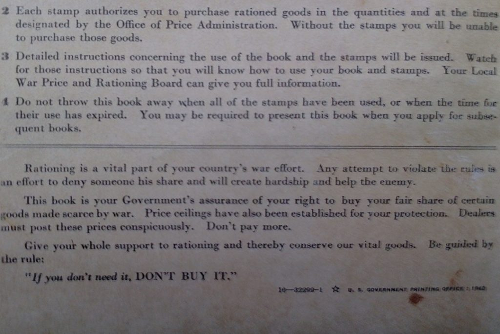 1943 war ration book - back with frugal messages